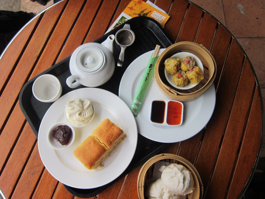 Jasmine tea, pork buns, shumai, and scones!